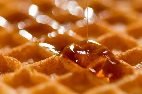 waffle with maple syrup on it